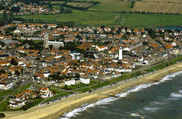 Aerial view: Southwold town and beach