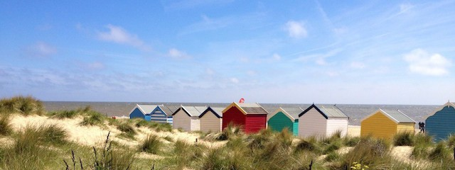 "Southwold's ""Royal"" beach huts - these are closer to Mandalay, south of the pier"