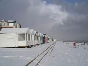 A beautiful winter walk: along Southwold's seafront, flanked by its famous beach huts