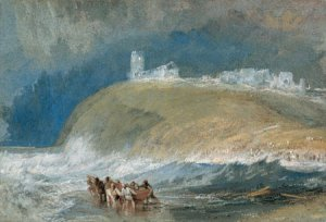 This small painting of Dunwich was one of eight produced by Turner for a work entitled The East Coast of England. Produced in around 1830, it shows the ruins of All Saints church on the cliff. Visit the Dunwich Museum to find out why these are no longer standing.