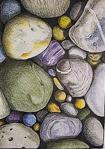 Pebbles in pastels by Valerie Wood