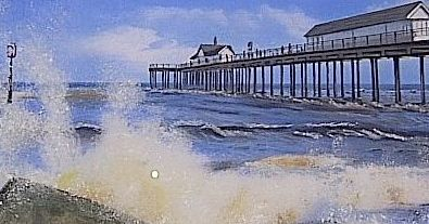 No visit to Southwold is complete without a visit to The Pier. Pastel illustration by Valerie Wood