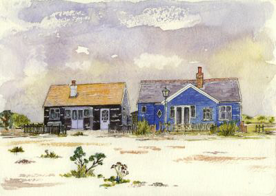 Two cottages watercolour Artist unknown