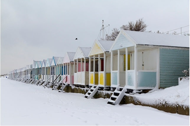 Southwold beach huts in the snow