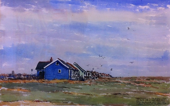 Andrew Pitt's watercolour of Mandalay, a holiday cottage on the dunes of Southwold beach