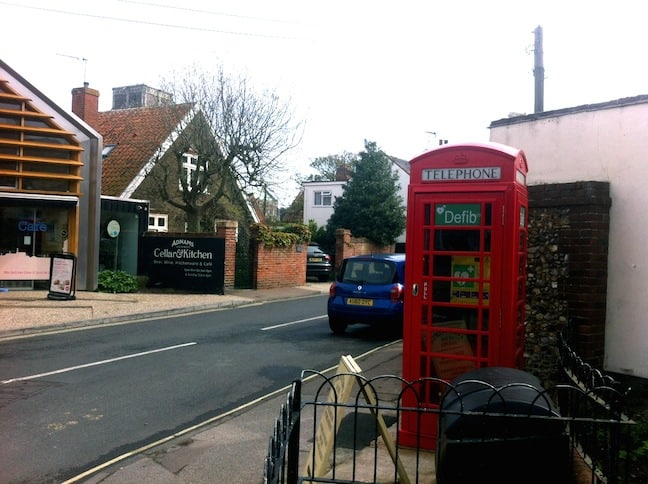 defibrillator phone box in Southwold