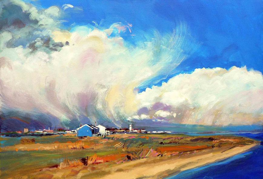Storm over Southwold, by Christopher Humphries - showing coastal holiday cottage Mandalay