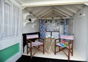 Interior of beach hut